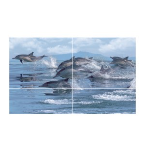 Decor faianta baie 2754 Viola Dolphins Blue lucios albastru 60 x 100 cm