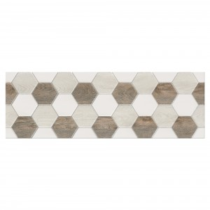 Decor faianta baie / bucatarie Soul Light Hexagon lucios bej 25 x 75 cm
