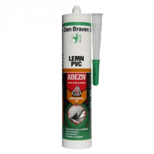 Adeziv pentru lemn si PVC, interior / exterior, Den Braven Montagefix - N, galben, 280 ml