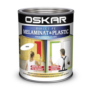 Vopsea Direct pe melaminat si plastic Oskar  interior / exterior diluabil cu apa alb 0.6 L