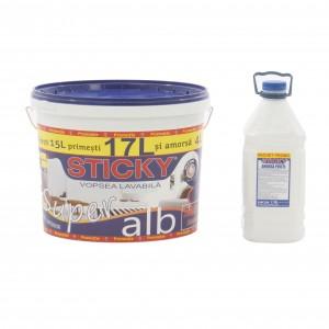 Vopsea lavabila interior, Sticky, alba, 17 L + amorsa Sticky 4 L