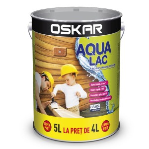 Lac pentru lemn Oskar Aqua Lac, tec, pe baza de apa, interior / exterior, 5 L