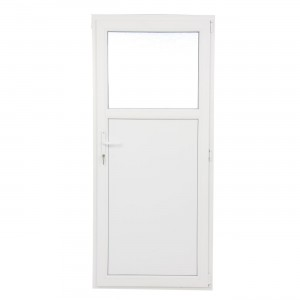 Usa exterior din PVC cu geam termopan 1/3, Far Est Weiss tip 1, 3 camere, prag PVC, dreapta, alb, 97 x 197 cm