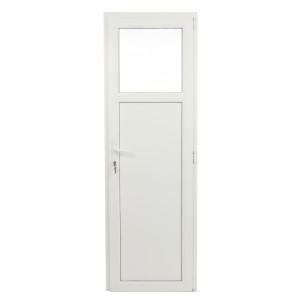 Usa exterior din PVC cu geam termopan 1/3, Far Est Weiss tip 1, 3 camere, prag aluminiu, dreapta, alb, 77 x 202 cm