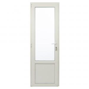Usa exterior din PVC cu geam termopan 2/3, Far Est Weiss tip 2, 3 camere, prag aluminiu, stanga, alb, 67 x 202 cm