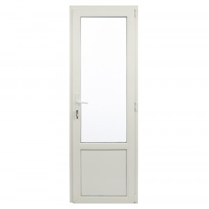 Usa exterior din PVC cu geam termopan 2/3, Far Est Weiss tip 2, 3 camere, prag aluminiu, dreapta, alb, 67 x 202 cm