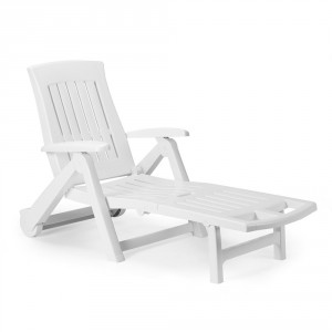 Sezlong plaja Zaffiro pliabil structura plastic alb 195 x 72 x 101 cm