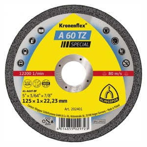 Disc debitare metale, Klingspor A 60 TZ Special, 125 x 22.23 x 1 mm