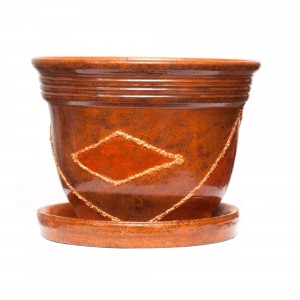 Ghiveci ceramic A2, maro, rotund, 16 x 12.5 cm