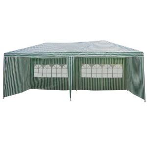 Pavilion gradina 3602-S dreptunghiular cadru metalic + polietilena alb-verde 3 x 6 m