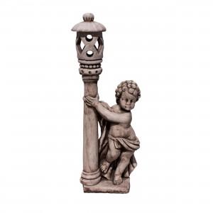 Statuie Copil cu felinar, decoratiune gradina, beton, H 118 cm
