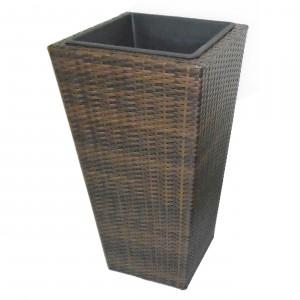 Ghiveci din metal + plastic cu finisaj ratan sintetic PLTP-1390, patrat, maro 40 x 40 x 75 cm