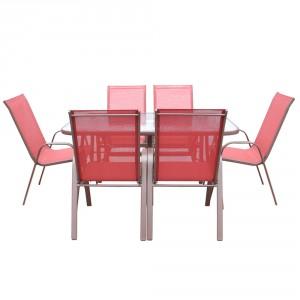Set masa cu 6 scaune pentru gradina Siena din metal cu textilen