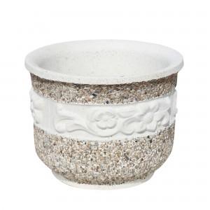 Ghiveci din beton VG211, model cu flori, alb cu piatra natur, rotund, 43 x 33 cm