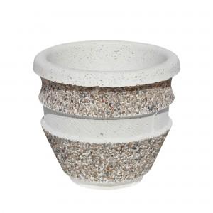 Ghiveci din beton VG215, alb cu piatra natur, rotund, pentru exterior, 35 x 32 cm