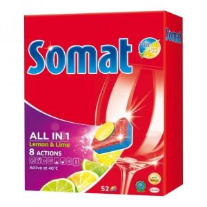 Detergent tablete pentru vase Somat All in one, aroma lamaie, 52 tablete