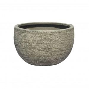 Ghiveci din fibra piatra PL 123350-GSR, gri, rotund, 30 x 18 cm