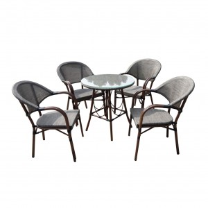 Set masa cu 4 scaune, pentru gradina, Bistro HHTX0317, din metal, cu material textil