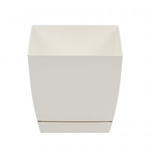 Ghiveci din plastic Coubi, patrat, alb 24 x 24 x 22 cm
