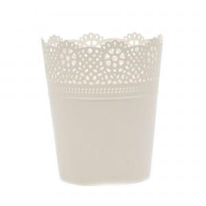 Ghiveci din plastic Lace, alb D 14 cm