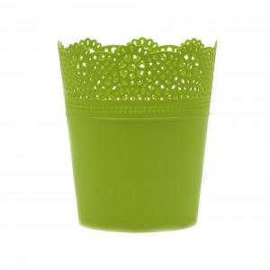 Ghiveci din plastic Lace, lime D 14 cm