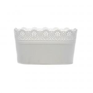 Ghiveci din plastic Lace, alb D 28.5 cm