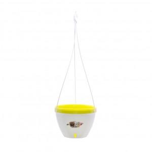 Ghiveci din plastic Vista, suspendat, alb-lime D 21.5 cm