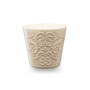 Masca ghiveci Retro, rotunda, ceramica, gri, D 12 cm