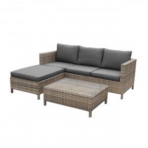 Set masa cu taburet si canapea, pentru gradina, Sofa D85040, din metal cu ratan sintetic
