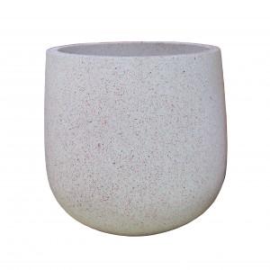 Ghiveci din ciment DHH005, cu suport metalic, rotund, 37 x 37 cm