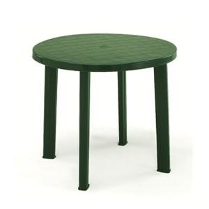 Masa fixa pentru gradina Tondo, plastic, rotunda, 4 persoane, 90 x 72 cm, verde