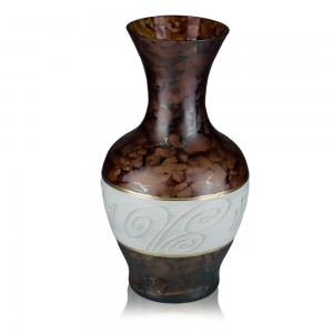 Vaza sticla decorativa, Daphne 5/14, maro + crem + auriu, pictata manual, D 18 cm, H 32 cm