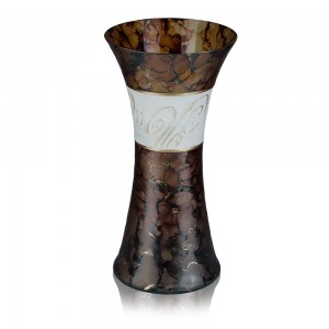 Vaza sticla decorativa, Daphne VR 30/14, maro + crem, pictata manual, D 14, H 30 cm