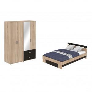 Dormitor Raul, pat + dulap D4, stejar bardolino + magia, 7C