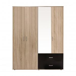 Dulap dormitor Raul D4, stejar bardolino + magia, 4 usi, cu oglinda, 160 x 50 x 206 cm, 4C