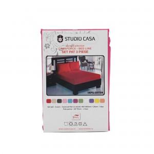 Husa (saltea/pat) cu elastic, fucsia, bumbac 100%, 160x200 cm + 2 fete perna 50x70 cm