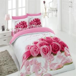 Lenjerie de pat, 2 persoane, Ranforce Love, bumbac 100%, 4 piese, roz