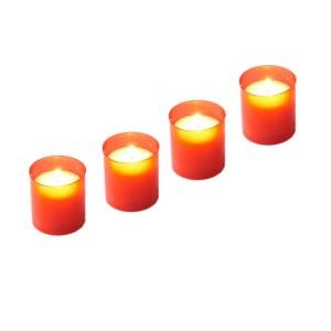 Candela decorativa M1, plastic, h 6 cm, timp ardere 18 ore, rosie, 4 bucati/set