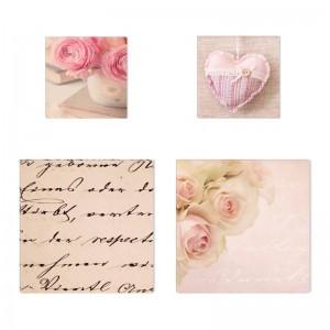 Tablou 4 piese, Love COL002, canvas + lemn de brad, stil abstract, 2 piese - 30 x 30 cm + 2 piese - 20 x 20 cm