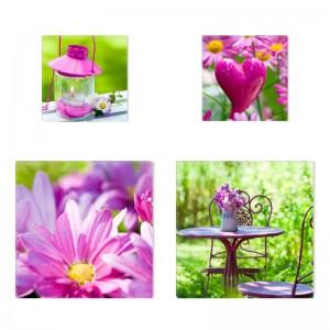 Tablou 4 piese, Roz COL007, canvas + lemn de brad, stil floral, 2 piese - 30 x 30 cm + 2 piese - 20 x 20 cm