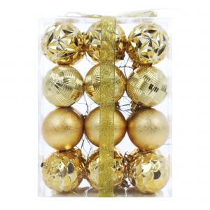 Globuri Craciun, aurii, diametru 6 cm, set 24 bucati, SD15-6049