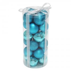 Globuri Craciun, albastre, diametru 6 cm, set 24 bucati, SD16-10A
