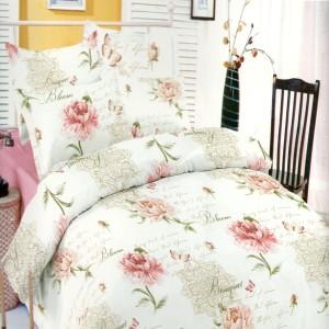 Lenjerie de pat, 2 persoane, Deluxe Pucioasa, bumbac 100%, 4 piese, crem + roz