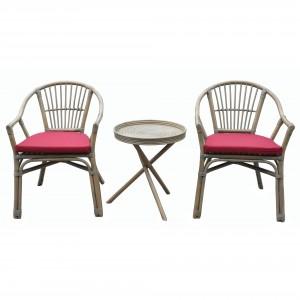 Set masa cu 2 scaune cu perne pentru gradina DC905 din ratan natural