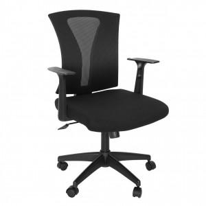 Scaun birou ergonomic Vector, rotativ, mesh + material textil, negru
