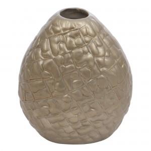 Vaza ceramica decorativa, 0129, argintiu, model in relief, 16 x 14 cm