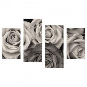 Tablou canvas 4 piese, PT1208, panza + sasiu brad, stil floral, 2 piese - 30 x 50 cm + 2 piese - 30 x 70 cm