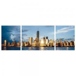 Tablou canvas 3 piese, PT1524, panza + sasiu brad, stil orase si arhitectura, 2 piese - 45 x 60 cm + 1 piesa - 80 x 60 cm