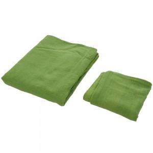 Cuvertura de pat + fete de perna, Caressa, bumbac, verde, 180 x 240 cm
