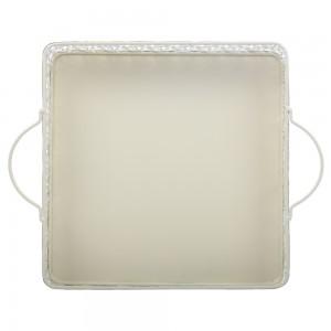 Tava patrata decorativa 1708L, metal, crem, 26.5 x 5.5 cm